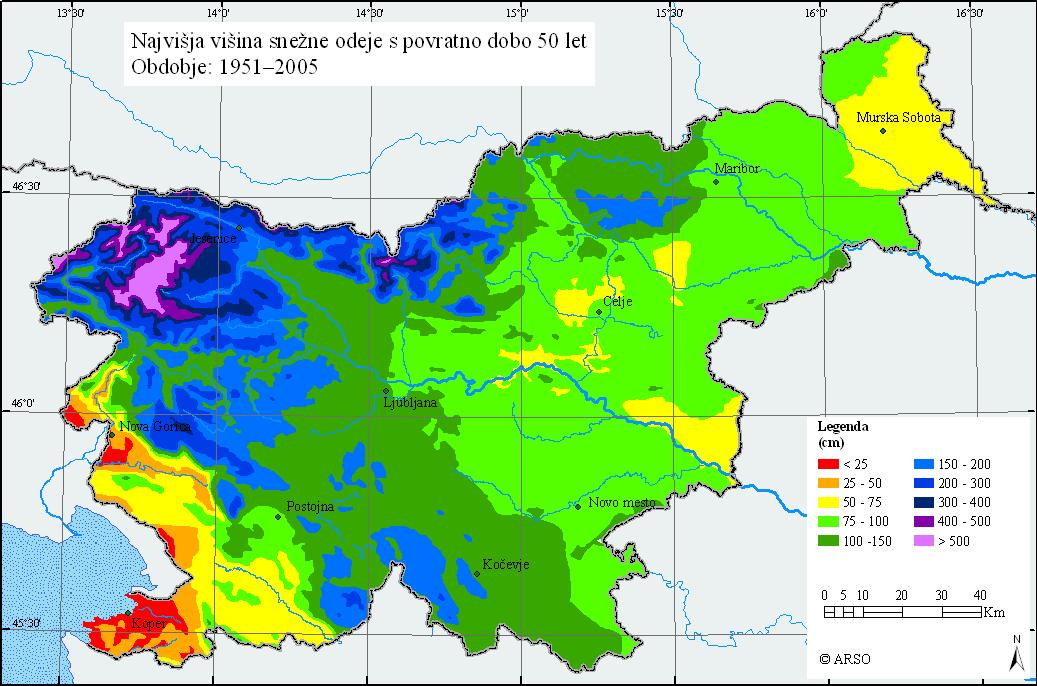 Slika prikazuje največjo višino snežne odeje s povratno dobo 50 let na območju Slovenije