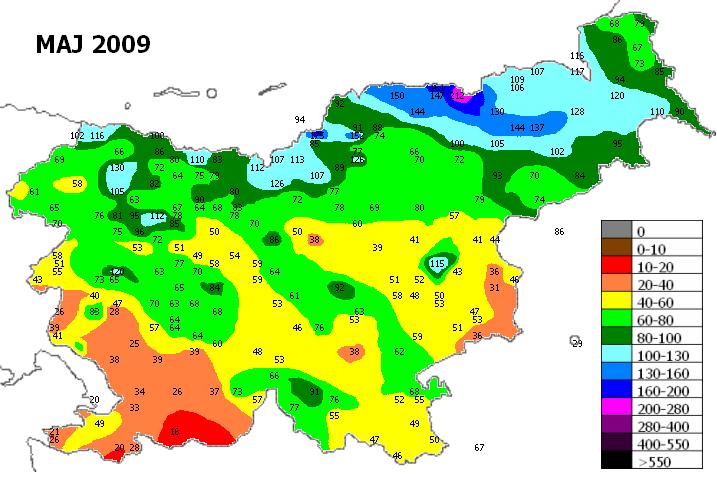 Prikaz količine padavin v mesecu maju leta 2009 po Sloveniji